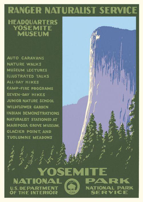yosemite national park vintage poster ranger naturalist service series