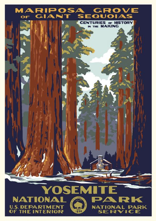 yosemite national park mariposa grove vintage poster