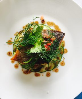 Sea bream fillet with courgettes, sauce vierge