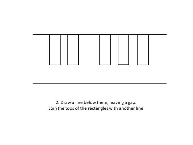 Draw a line below them leaving a gap. Join the tops of the rectangle with another line.