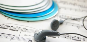 Music with CDs and headphones