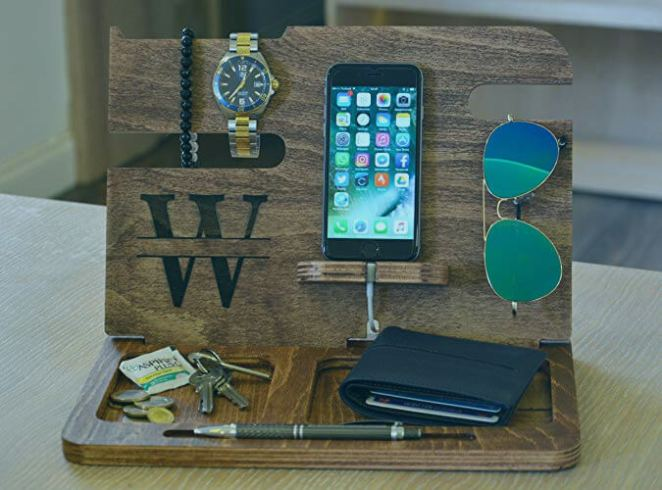 Engraved Wooden Docking Station and Phone Stand