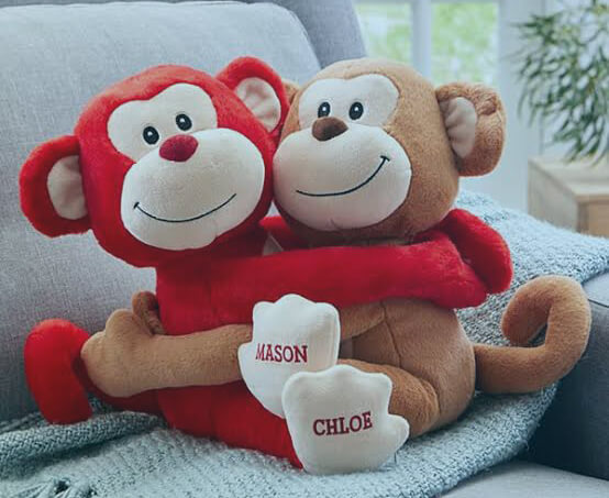 Personalized Hugs and Kisses Monkeys