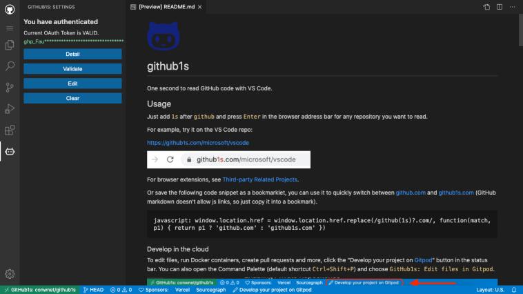 Github 1s home page