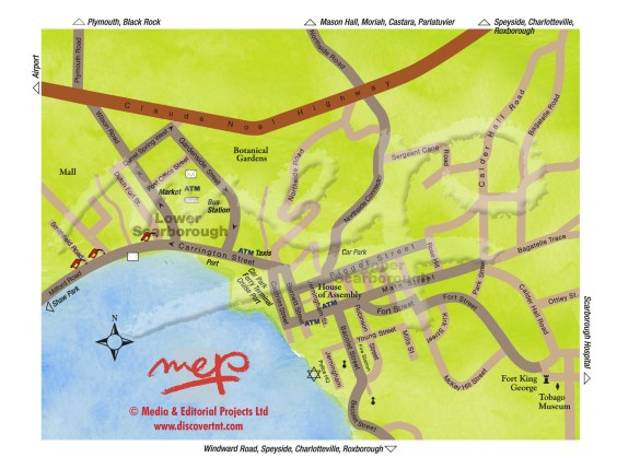Map of Scarborough, Tobago. Copyright MEP Publishers.