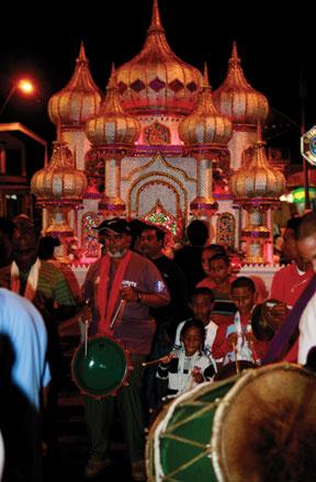 Tassa drummers at Hosay celebrations in St. James. Photographer: Stephen Broadbridge