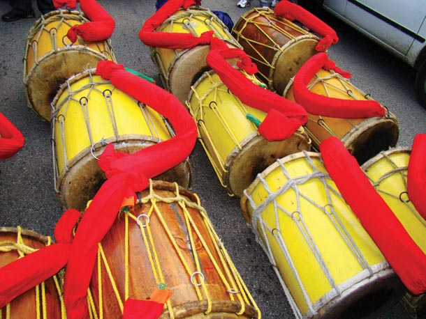 Tassa drums at the ready at Hosay in St. James. Photographer: Edison Boodoosingh