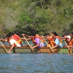 Dragon boat racers practise on Williams Bay in Chaguaramas. Photographer: Aisha Provoteaux