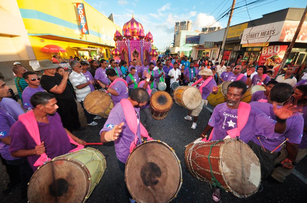 Tassa Drummers at Hosay. Photogaph by Edison Boodoosingh