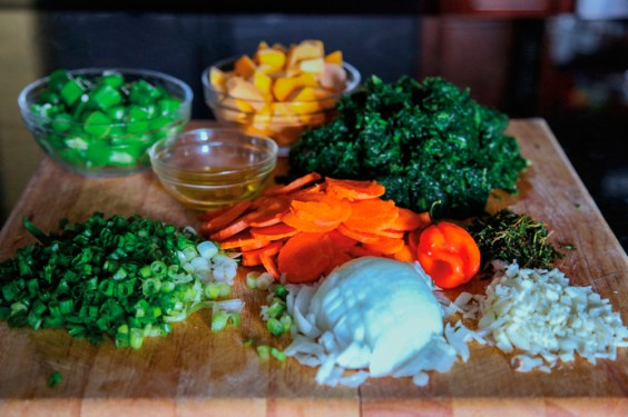 Chop callaloo ingredients. Photograph by Ria Birju