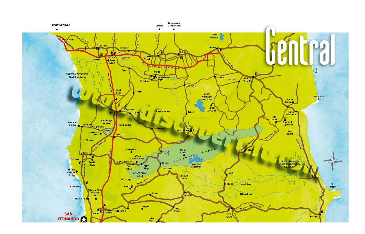 Central Trinidad Map Copyright MEP Publishers Discover - Trinidad map