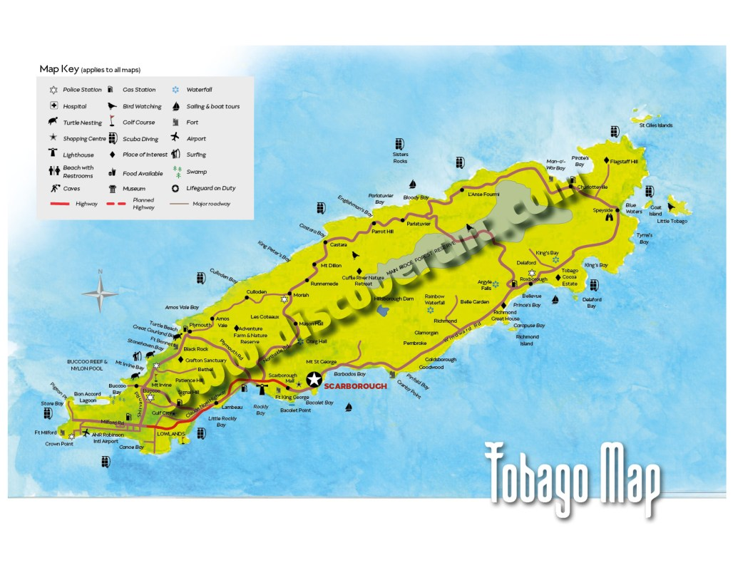 Tobago Map. Copyright MEP Publishers 2017