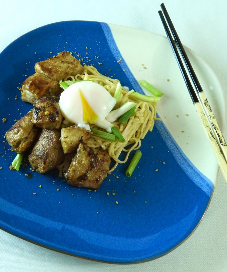 Japanese Style Grilled Pork with Sesame Noodles