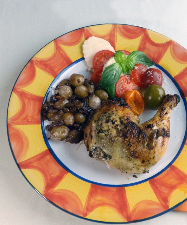 Grilled Pesto Chicken with Sweet and Sour Onions