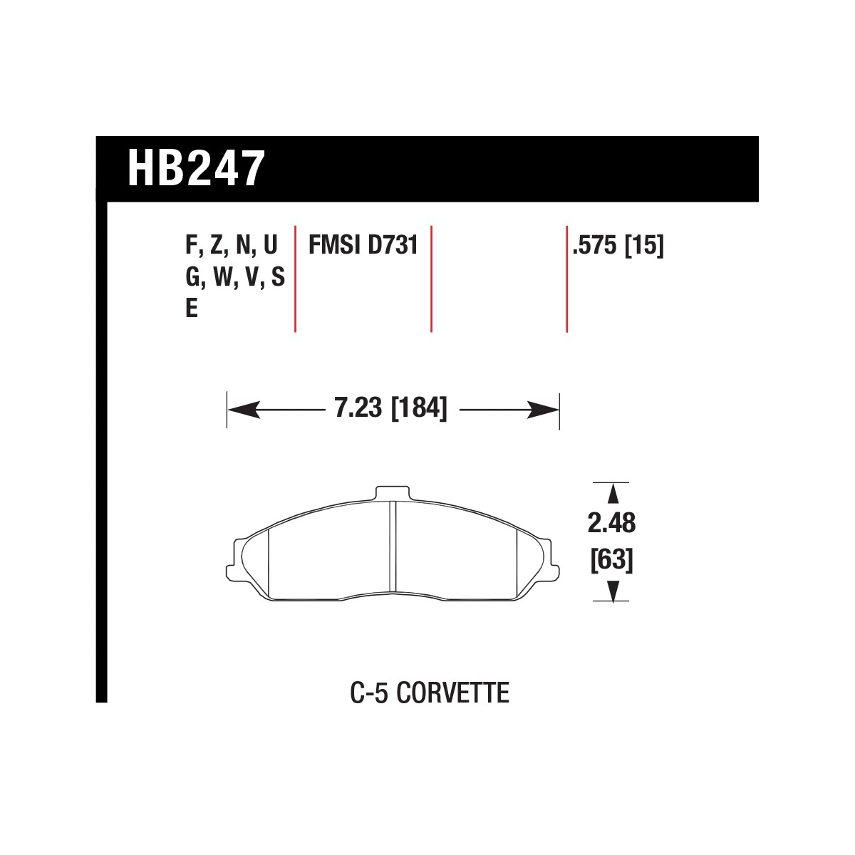 Hawk Hb247n 575 C5 Corvette Hp Plus Front Brake Pad Set