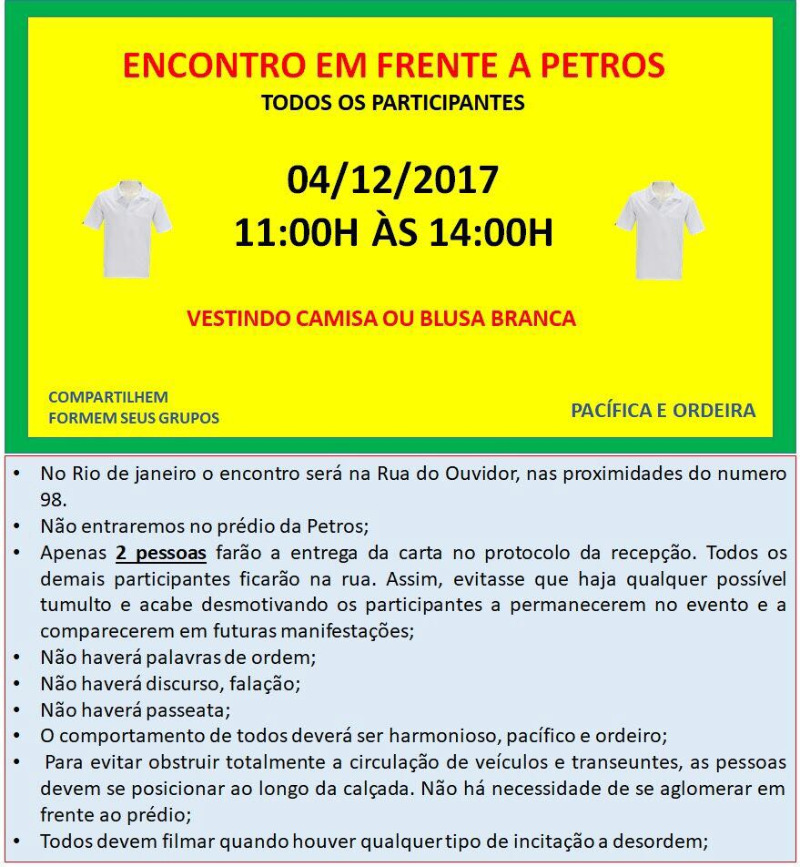 Manifestação pacífica de assistidos na Petros em 04/12 das 11 às 14 horas