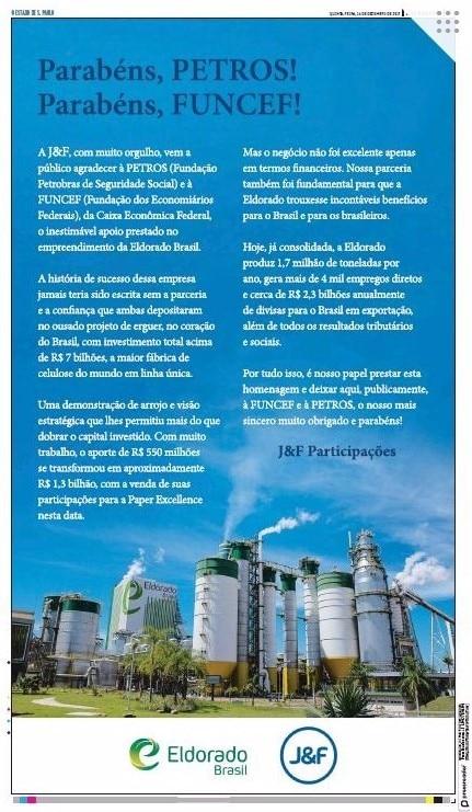 O escárnio da J&F para com a Petros e Funcef. Eldorado Celulose nasceu sob esquema de corrupção