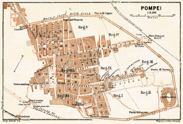 Old Map Of Pompei Pompeii In 1929 Buy Vintage Map