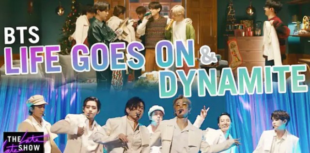 """BTS performs """"Life Goes On"""" & """"Dynamite"""" for """"The Late Late Show"""""""