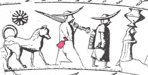 Particolare della situla della Certosa: uomo con paletta alla cintola