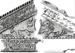 Timpano Cividale - Animali adulti con cuccioli: bassorilievo su elemento architettonico di età longobarda a Cividale del Friuli. Si osservino i rinoceronti col corno sulla fronte anziché sul naso e, nei leoni, la bocca dal profilo a denti di sega e  gli enormi artigli a rastrello.         (dis. Gianni Bassi   1978)