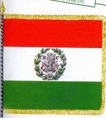 Bandiera tricolore (bianco, rosso e verde) della RC, la Repubblica Cispadana  costituitasi in epoca napoleonica dal gennaio al luglio del 797). (da L'Alpino n. 2-2011, rivista dell'ANA, l'Associazione Nazionale Alpini )
