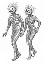 Fg 9: Ricostruzione ideale dei danzatori raffigurati sulla laminetta venetica della fg. 1 (dis. Gianni Bassi)