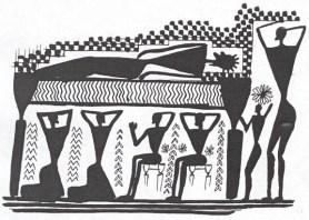 Fg 5: Scena di compianto funebre su un vaso greco dell'VIII sec. A.C. (dis. Gianni Bassi)
