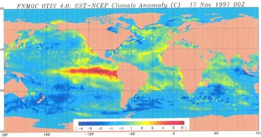 Il fenomeno del Niño, evidenziato in rosso.