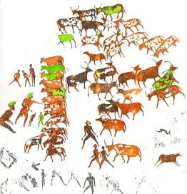 Pittura rupestre che attesta come, nel periodo Neolitico, il Sahara fosse ricoperto dalla savana, nella quale, oltre agli innumerevoli animali tipici di quell'ambiente, trovavano ampio spazio anche gli uomini coi loro armenti.