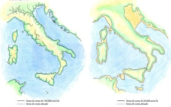 Variazione linee di costa nel mediterraneo