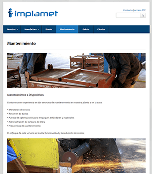 Sitio Web Implamet