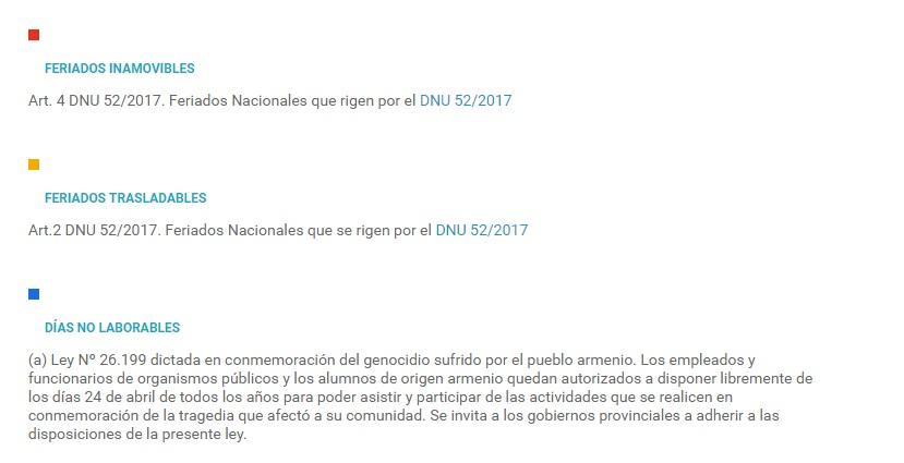 Feriados 2017 en Argentina