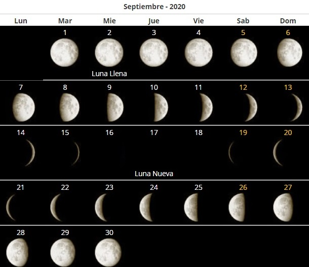 Calendario lunar Argentina 2020
