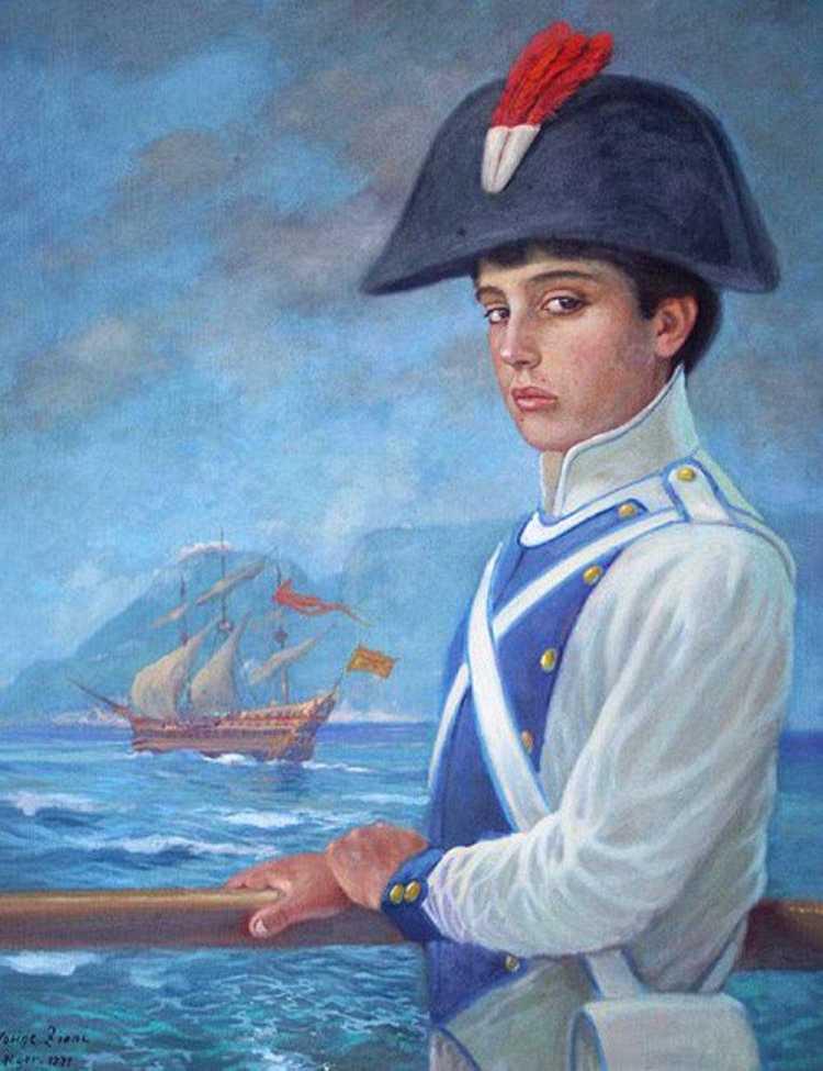 """""""José de San Martín, cadete del Regimiento de Murcia"""", óleo de Hocine Ziani – Argel 1991. Instituto Nacional Sanmartiniano Crédito: Instituto Nacional Sanmartiniano"""