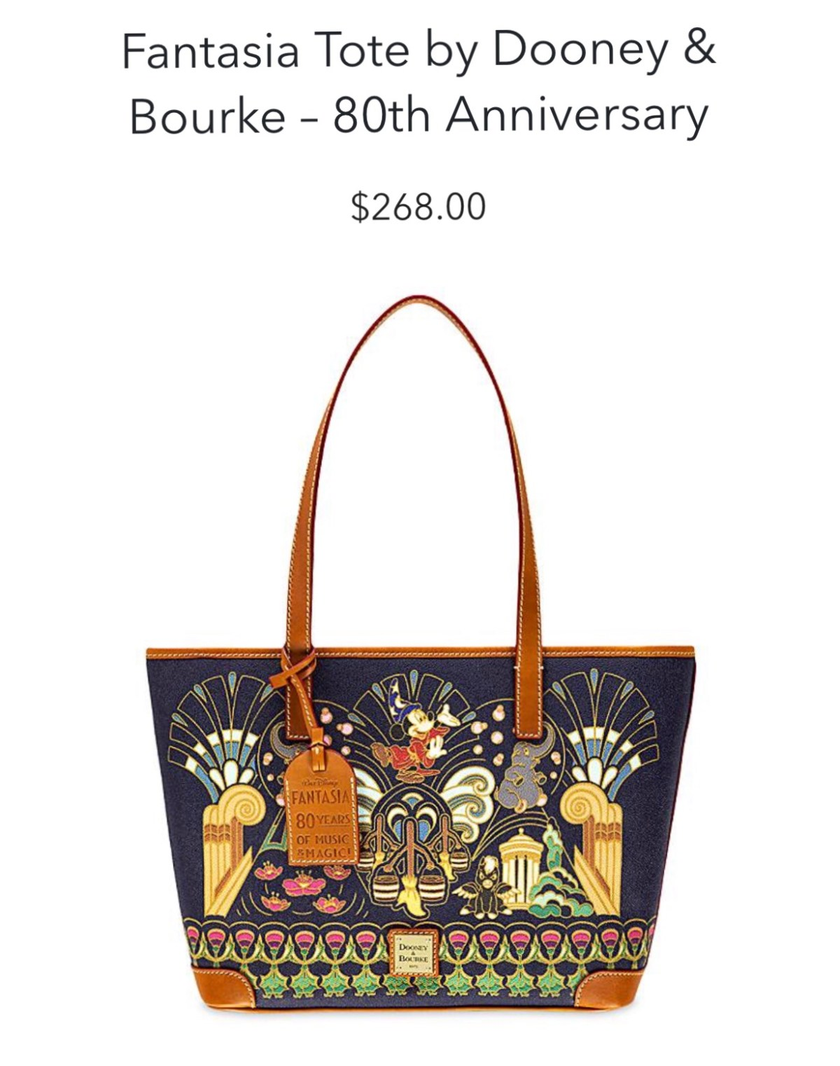 Disney Dooney & Bourke Shopper Fantasia 80th Anniversary