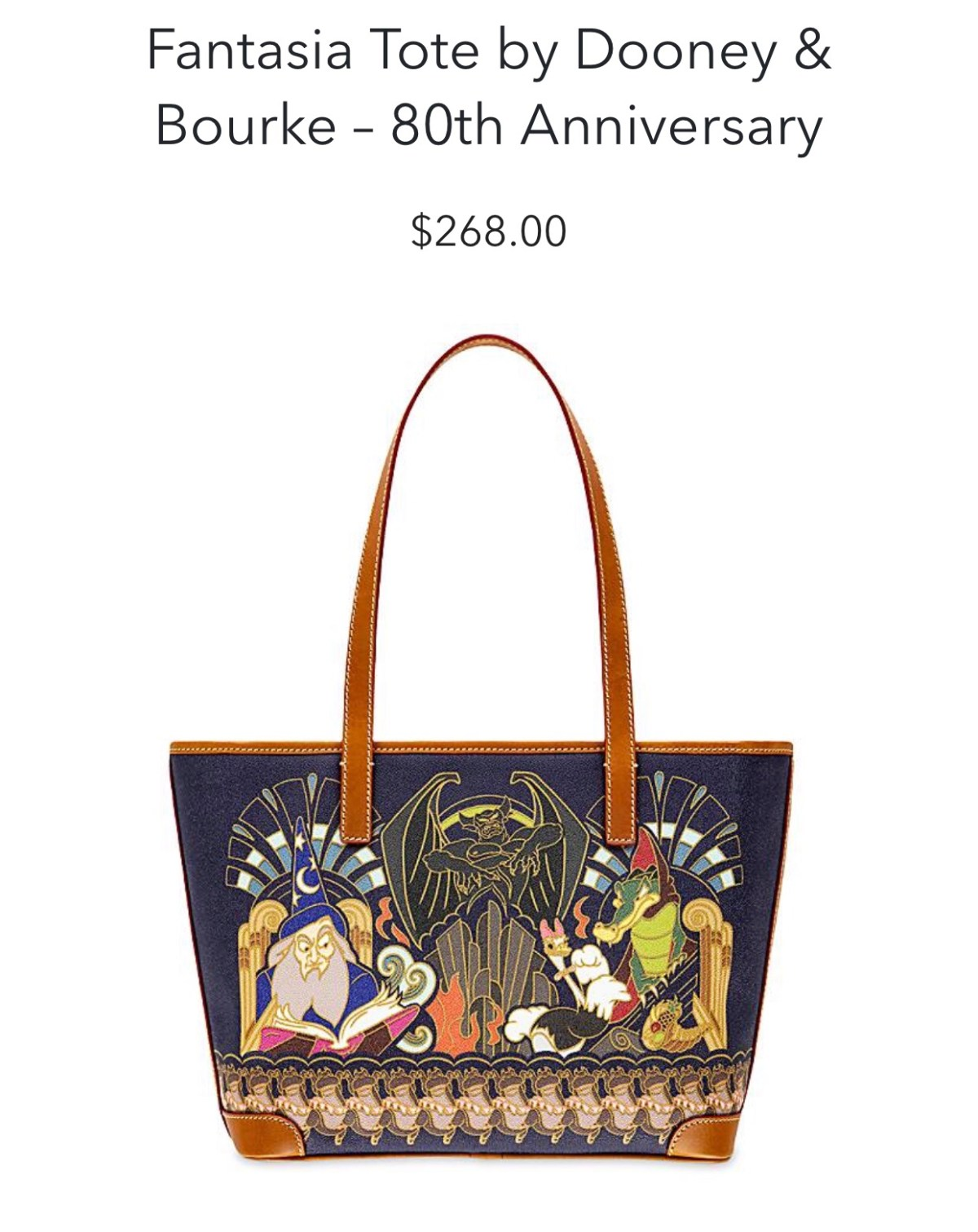 Disney Dooney & Bourke Shopper Fantasia 80th Anniversary bag back view