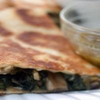 Chicken, Poblano, Spinach & Mushroom Quesadillas