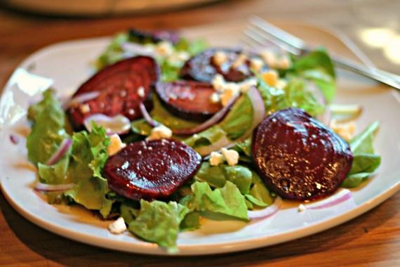 Roasted Beet Salad with Garlic Vinaigrette