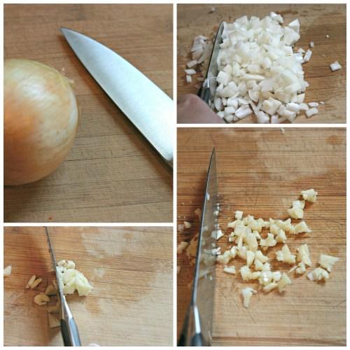 chop onion and garlic