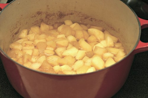 apples simmering in pot