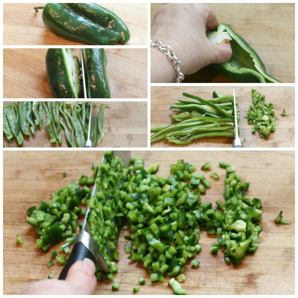 Poblano pepper chop