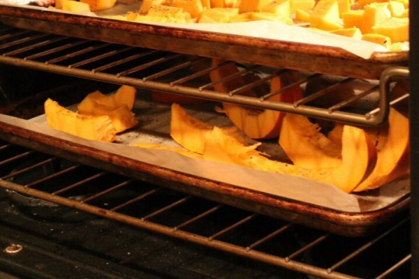 Roasting pumpkin wedges