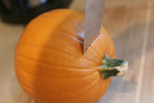 Cut stem off pumpkin