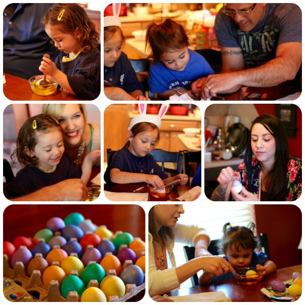 coloring easter eggs collage