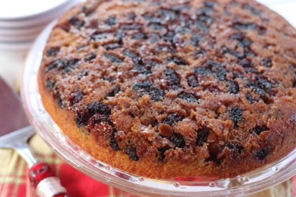 close up mulberry cake