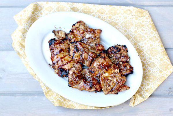 Grilled Honey Mustard Glazed Chicken Thighs