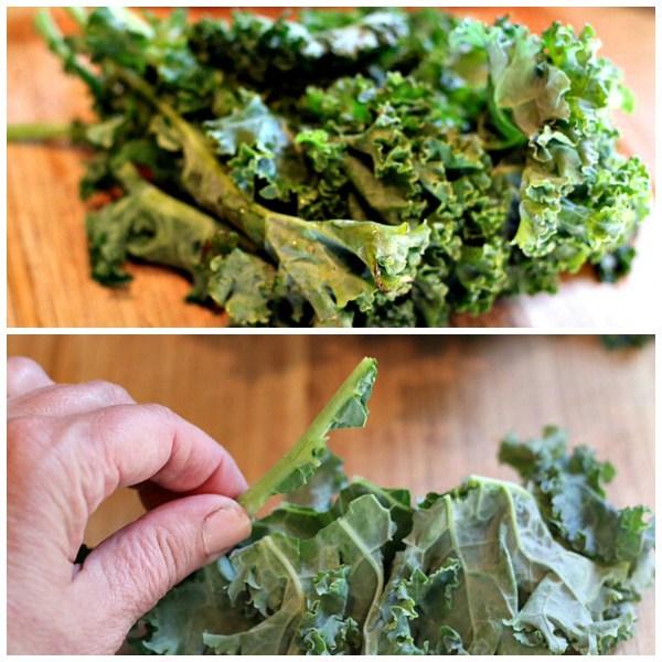 kale collage remove ribs stem