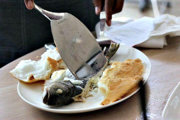 whole salt crusted branzino The Drake
