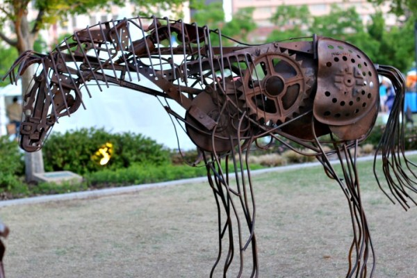 metal horse sculptures oklahoma city arts festival 2016